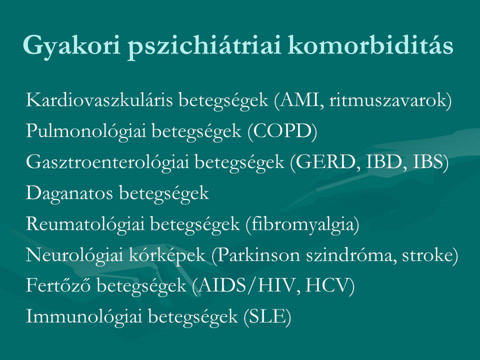 Gyakori pszichiátriai komorbiditás Kardiovaszkuláris betegségek (AMI, ritmuszavarok) Pulmonológiai betegségek (COPD) Gasztroenterológiai betegségek (G
