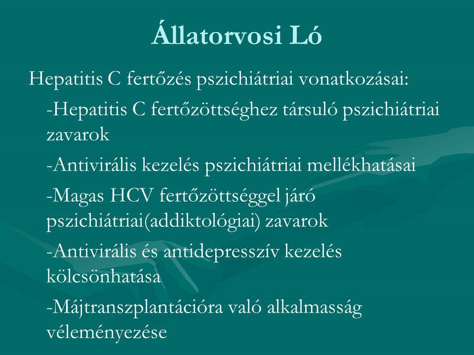 Állatorvosi Ló Hepatitis C fertőzés pszichiátriai vonatkozásai: -Hepatitis C fertőzöttséghez társuló pszichiátriai zavarok -Antivirális kezelés pszich
