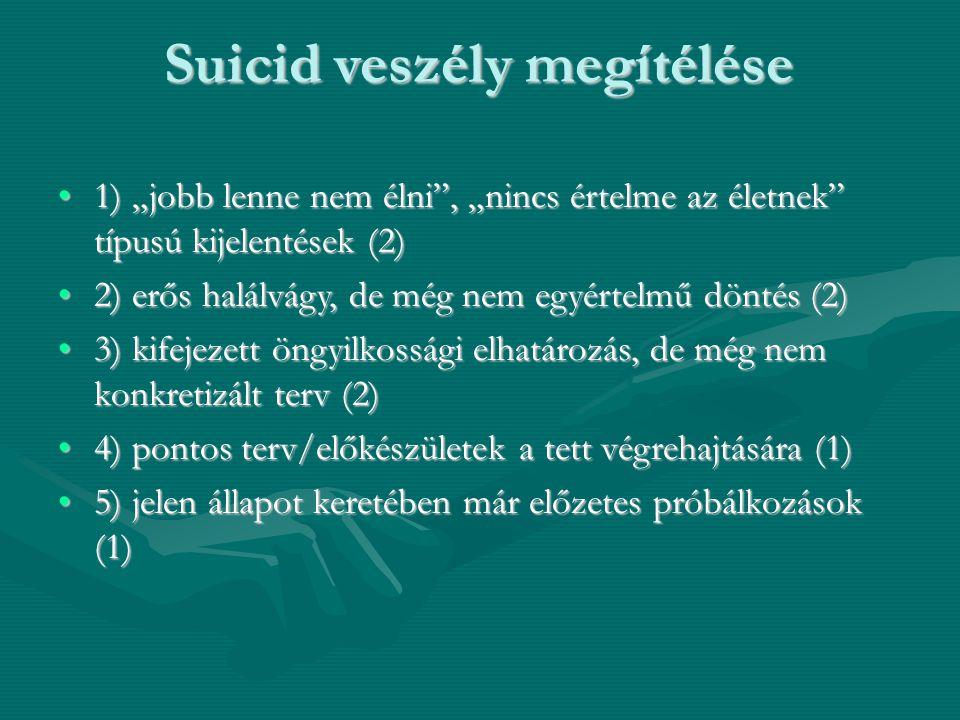 """Suicid veszély megítélése 1) """"jobb lenne nem élni"""", """"nincs értelme az életnek"""" típusú kijelentések (2)1) """"jobb lenne nem élni"""", """"nincs értelme az élet"""
