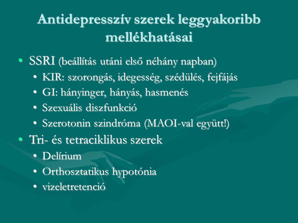 Antidepresszív szerek leggyakoribb mellékhatásai SSRI (beállítás utáni első néhány napban)SSRI (beállítás utáni első néhány napban) KIR: szorongás, id