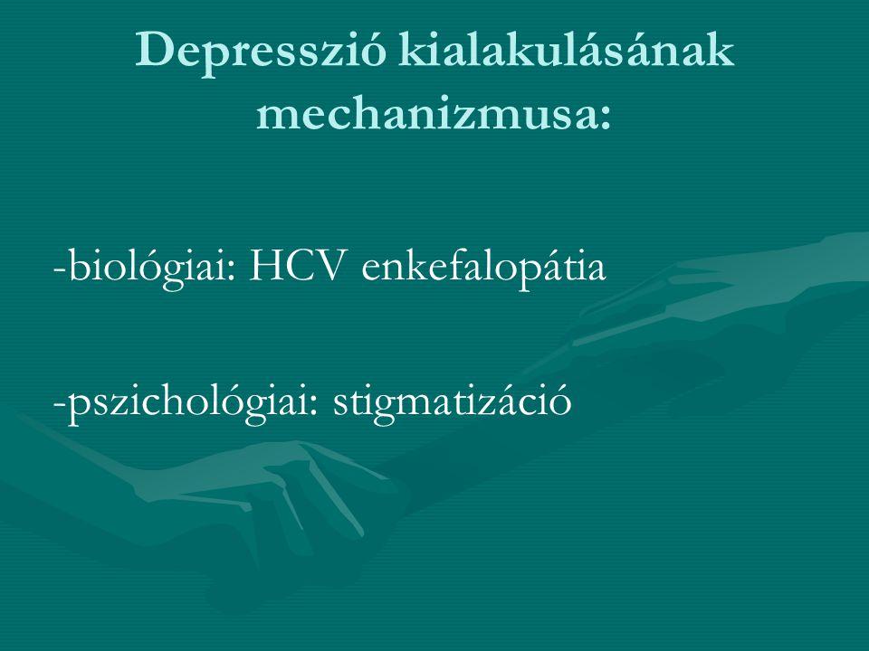Alfa interferon okozta Major depresszió Előfordulása 30-50%, a diagnosztikai kritériumok és a dózistól függően Pegilált interferonnal kezelt hepatitis C fertőzött betegeknél a valódi major depresszió előfordulása ennél jelentősen ritkább.