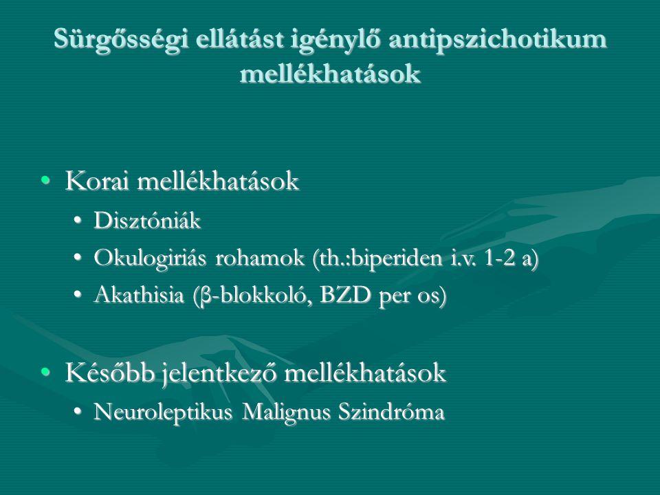Sürgősségi ellátást igénylő antipszichotikum mellékhatások Korai mellékhatásokKorai mellékhatások DisztóniákDisztóniák Okulogiriás rohamok (th.:biperi