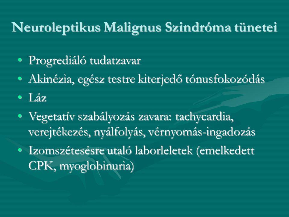 Neuroleptikus Malignus Szindróma tünetei Progrediáló tudatzavarProgrediáló tudatzavar Akinézia, egész testre kiterjedő tónusfokozódásAkinézia, egész t