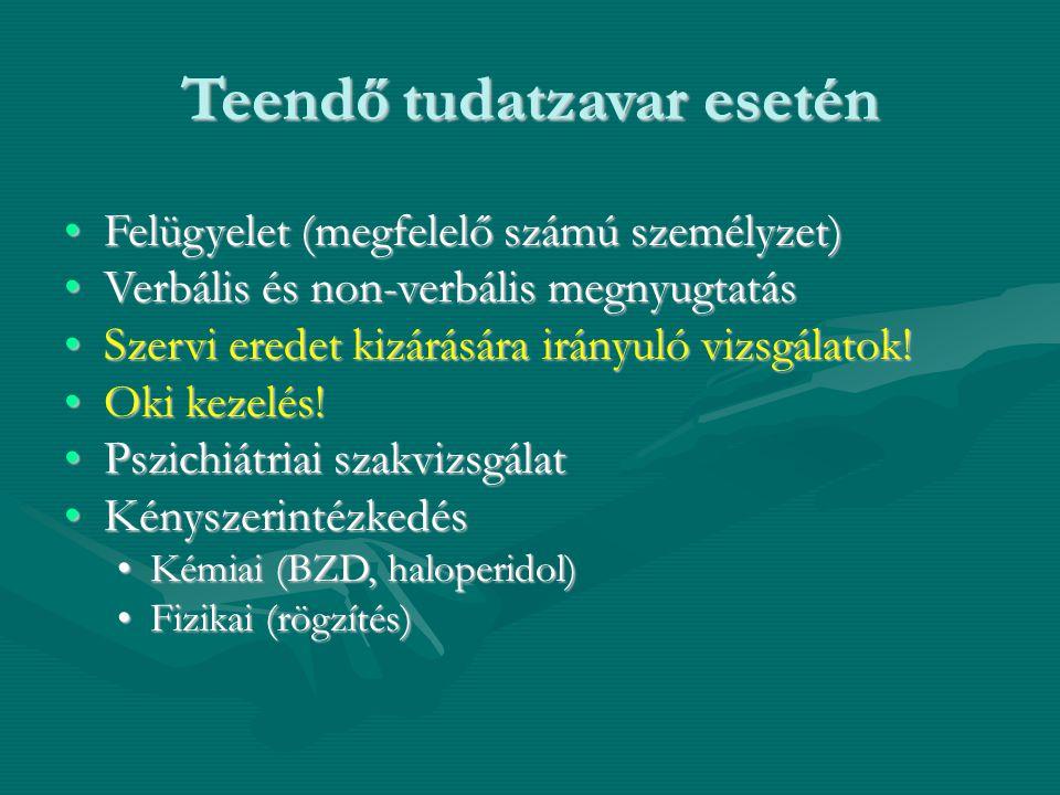 Teendő tudatzavar esetén Felügyelet (megfelelő számú személyzet)Felügyelet (megfelelő számú személyzet) Verbális és non-verbális megnyugtatásVerbális