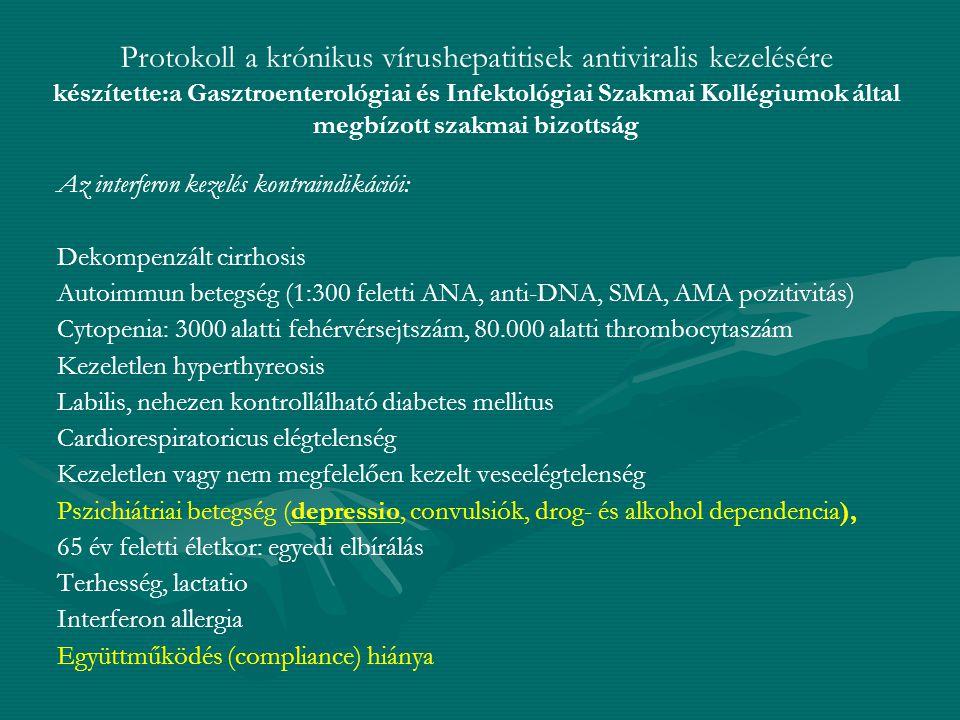 Protokoll a krónikus vírushepatitisek antiviralis kezelésére készítette:a Gasztroenterológiai és Infektológiai Szakmai Kollégiumok által megbízott sza