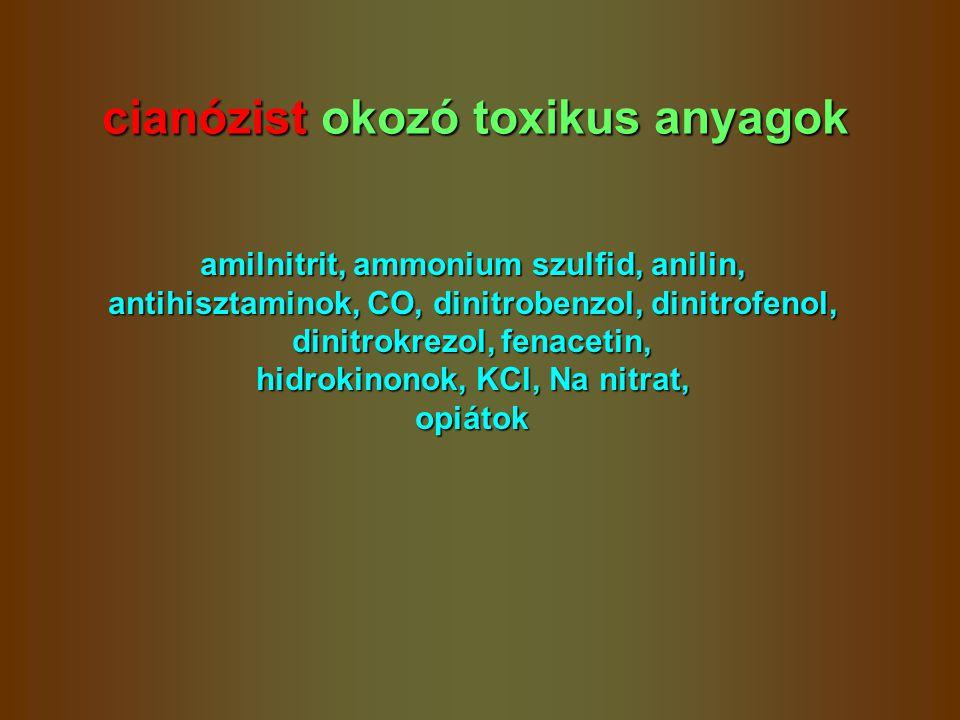cianózist okozó toxikus anyagok amilnitrit, ammonium szulfid, anilin, antihisztaminok, CO, dinitrobenzol, dinitrofenol, dinitrokrezol, fenacetin, hidr