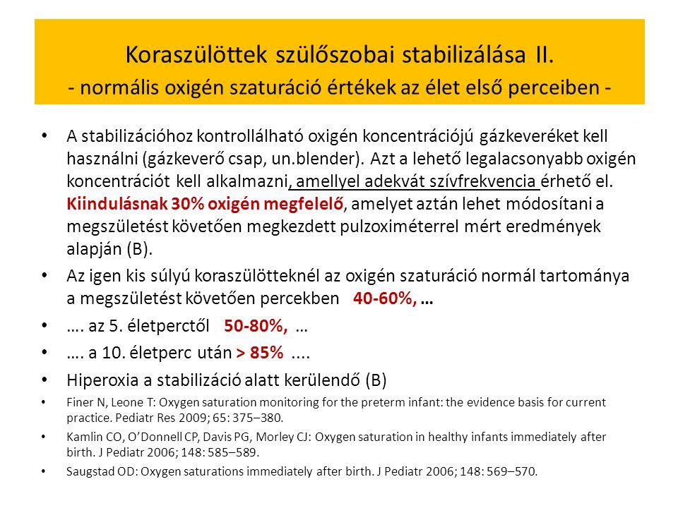 Koraszülöttek szülőszobai stabilizálása II.