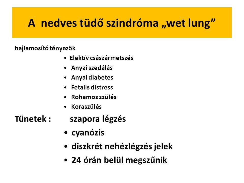"""A nedves tüdő szindróma """"wet lung hajlamosító tényezők Elektív császármetszés Anyai szedálás Anyai diabetes Fetalis distress Rohamos szülés Koraszülés Tünetek : szapora légzés cyanózis diszkrét nehézlégzés jelek 24 órán belül megszűnik"""