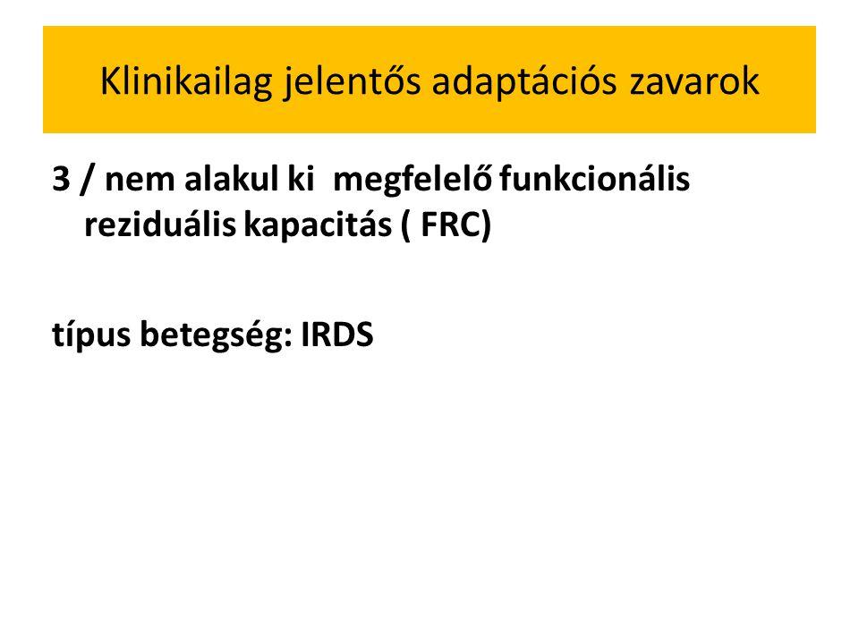 Klinikailag jelentős adaptációs zavarok 3 / nem alakul ki megfelelő funkcionális reziduális kapacitás ( FRC) típus betegség: IRDS