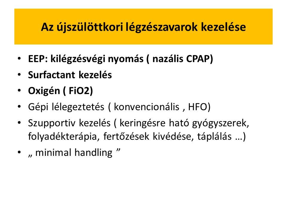 """Az újszülöttkori légzészavarok kezelése EEP: kilégzésvégi nyomás ( nazális CPAP) Surfactant kezelés Oxigén ( FiO2) Gépi lélegeztetés ( konvencionális, HFO) Szupportiv kezelés ( keringésre ható gyógyszerek, folyadékterápia, fertőzések kivédése, táplálás …) """" minimal handling"""