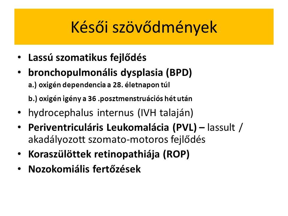 Késői szövődmények Lassú szomatikus fejlődés bronchopulmonális dysplasia (BPD) a.) oxigén dependencia a 28.
