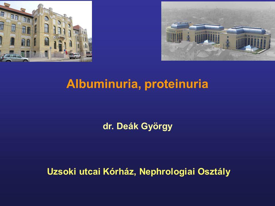 Albuminuria, proteinuria dr. Deák György Uzsoki utcai Kórház, Nephrologiai Osztály
