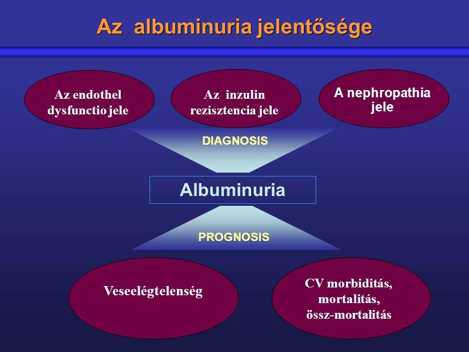 Az albuminuria jelentősége Az endothel dysfunctio jele CV morbiditás, mortalitás, össz-mortalitás Veseelégtelenség Albuminuria DIAGNOSIS PROGNOSIS A n