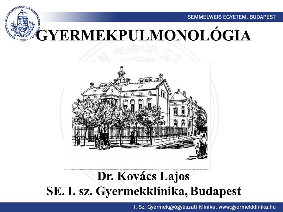 GYERMEKPULMONOLÓGIA Dr. Kovács Lajos SE. I. sz. Gyermekklinika, Budapest