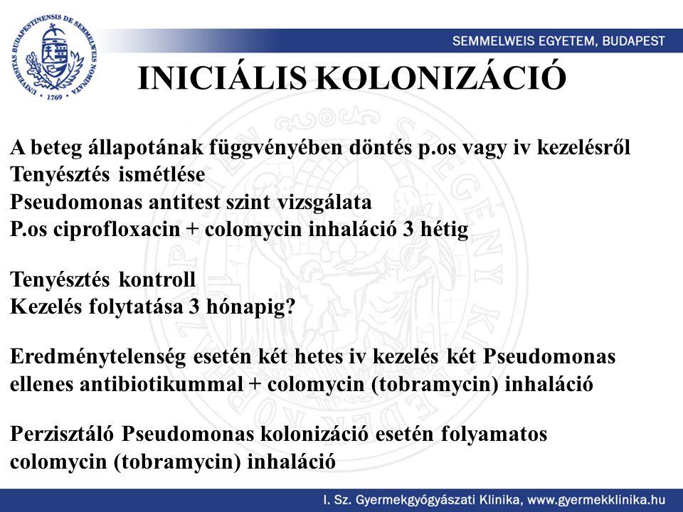 INICIÁLIS KOLONIZÁCIÓ A beteg állapotának függvényében döntés p.os vagy iv kezelésről Tenyésztés ismétlése Pseudomonas antitest szint vizsgálata P.os