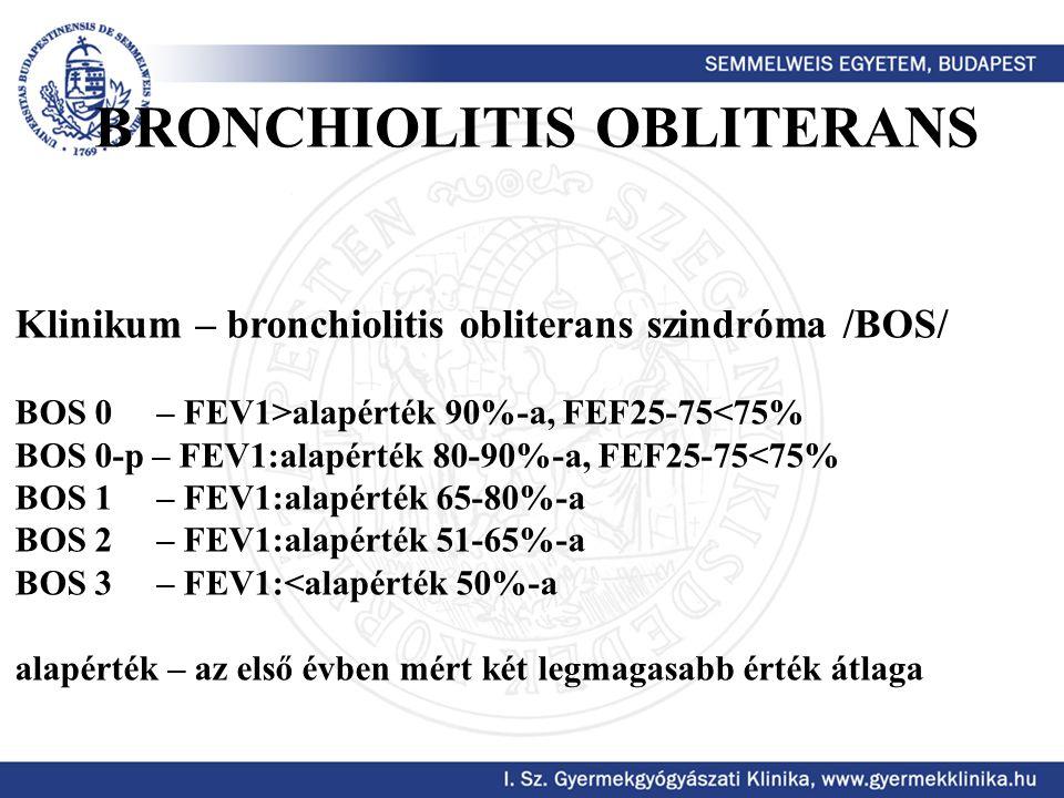 Klinikum – bronchiolitis obliterans szindróma /BOS/ BOS 0 – FEV1>alapérték 90%-a, FEF25-75<75% BOS 0-p – FEV1:alapérték 80-90%-a, FEF25-75<75% BOS 1 –