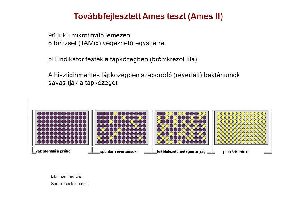 Továbbfejlesztett Ames teszt (Ames II) 96 lukú mikrotitráló lemezen 6 törzzsel (TAMix) végezhető egyszerre pH indikátor festék a tápközegben (brómkrez