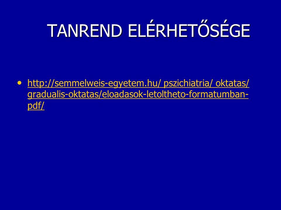 TANREND ELÉRHETŐSÉGE TANREND ELÉRHETŐSÉGE http://semmelweis-egyetem.hu/ pszichiatria/ oktatas/ gradualis-oktatas/eloadasok-letoltheto-formatumban- pdf