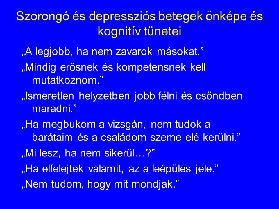 """Szorongó és depressziós betegek önképe és kognitív tünetei """"A legjobb, ha nem zavarok másokat."""" """"Mindig erősnek és kompetensnek kell mutatkoznom."""" """"Is"""