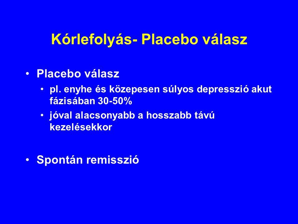 Kórlefolyás- Placebo válasz Placebo válasz pl. enyhe és közepesen súlyos depresszió akut fázisában 30-50% jóval alacsonyabb a hosszabb távú kezelésekk