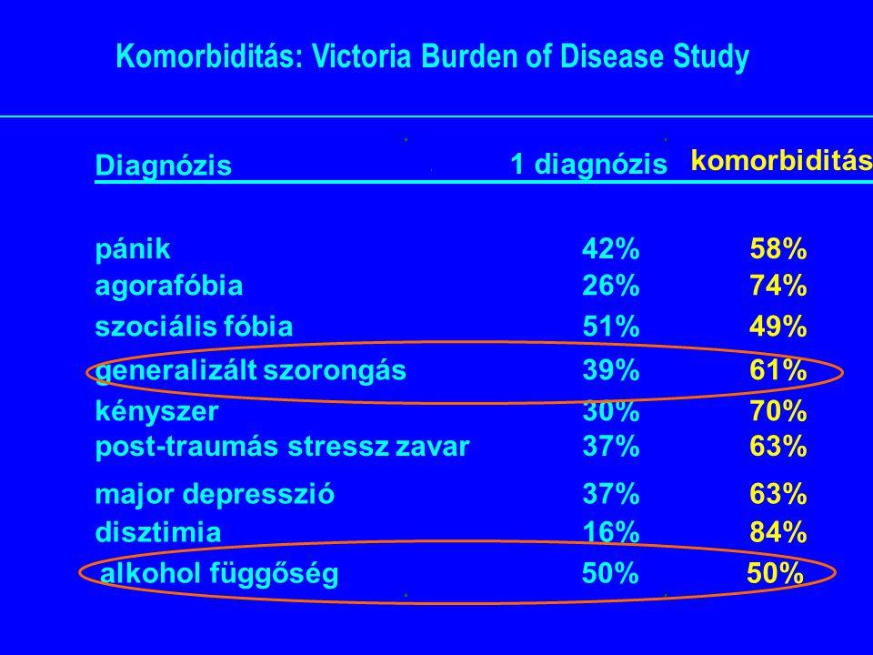 Komorbiditás: Victoria Burden of Disease Study Diagnózis 1 diagnózis komorbiditás alkohol függőség50% pánik42%58% agorafóbia26%74% szociális fóbia51%49% generalizált szorongás39%61% kényszer30%70% post-traumás stressz zavar37%63% major depresszió37%63% disztimia16%84%