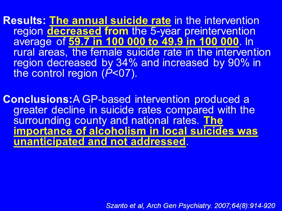 Results: The annual suicide rate in the intervention region decreased from the 5-year preintervention average of 59.7 in 100 000 to 49.9 in 100 000. I