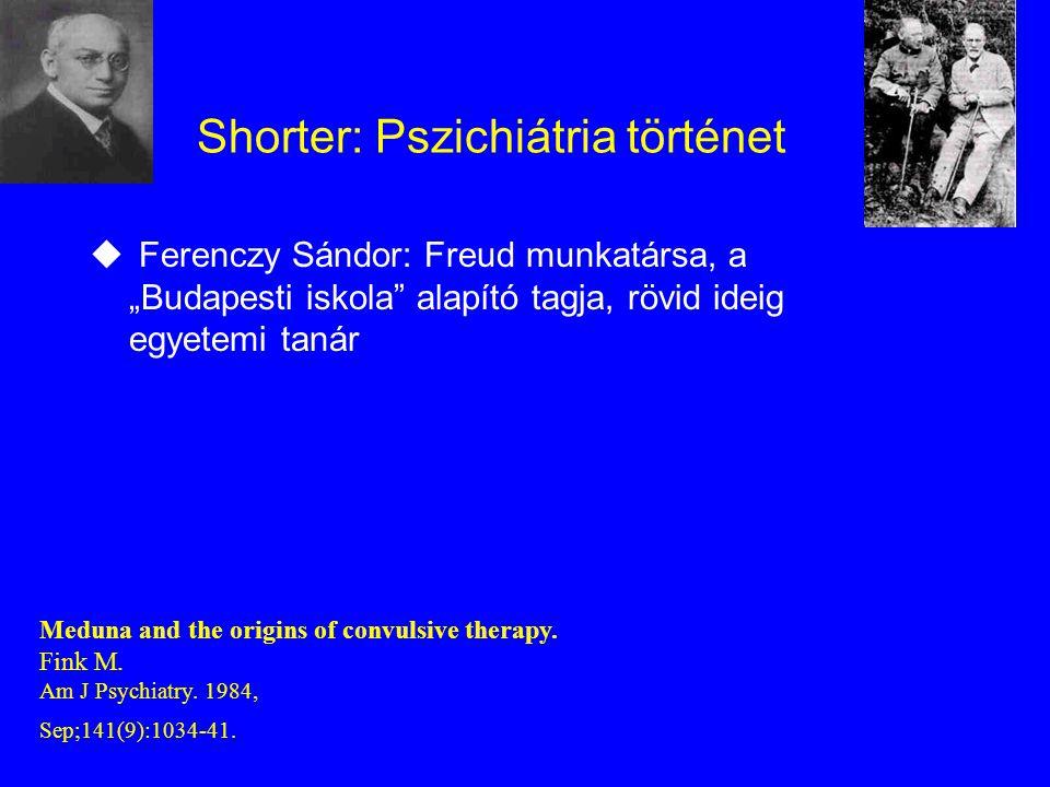 """Shorter: Pszichiátria történet u Ferenczy Sándor: Freud munkatársa, a """"Budapesti iskola alapító tagja, rövid ideig egyetemi tanár Meduna and the origins of convulsive therapy."""