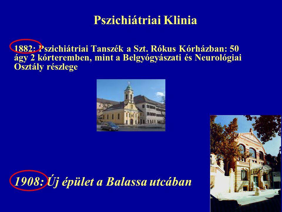 Pszichiátriai Klinia 1882: Pszichiátriai Tanszék a Szt. Rókus Kórházban: 50 ágy 2 kórteremben, mint a Belgyógyászati és Neurológiai Osztály részlege 1