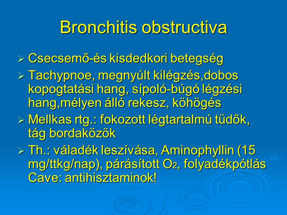 Bronchitis obstructiva  Csecsemő-és kisdedkori betegség  Tachypnoe, megnyúlt kilégzés,dobos kopogtatási hang, sípoló-búgó légzési hang,mélyen álló r