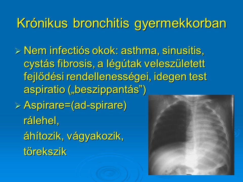 Krónikus bronchitis gyermekkorban  Nem infectiós okok: asthma, sinusitis, cystás fibrosis, a légútak veleszületett fejlődési rendellenességei, idegen