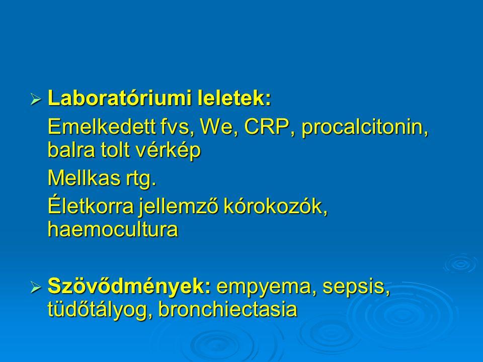  Laboratóriumi leletek: Emelkedett fvs, We, CRP, procalcitonin, balra tolt vérkép Mellkas rtg. Életkorra jellemző kórokozók, haemocultura  Szövődmén