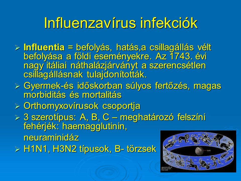Influenzavírus infekciók  Influentia = befolyás, hatás,a csillagállás vélt befolyása a földi eseményekre. Az 1743. évi nagy itáliai náthalázjárványt