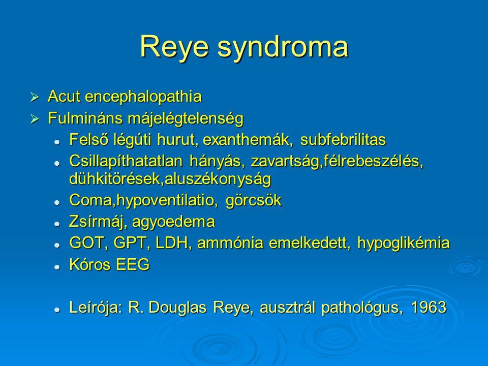 Reye syndroma  Acut encephalopathia  Fulmináns májelégtelenség Felső légúti hurut, exanthemák, subfebrilitas Felső légúti hurut, exanthemák, subfebrilitas Csillapíthatatlan hányás, zavartság,félrebeszélés, dühkitörések,aluszékonyság Csillapíthatatlan hányás, zavartság,félrebeszélés, dühkitörések,aluszékonyság Coma,hypoventilatio, görcsök Coma,hypoventilatio, görcsök Zsírmáj, agyoedema Zsírmáj, agyoedema GOT, GPT, LDH, ammónia emelkedett, hypoglikémia GOT, GPT, LDH, ammónia emelkedett, hypoglikémia Kóros EEG Kóros EEG Leírója: R.