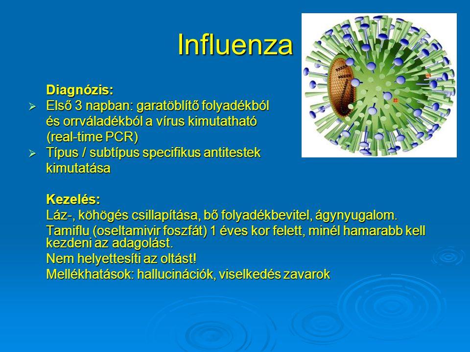 Influenza Diagnózis:  Első 3 napban: garatöblítő folyadékból és orrváladékból a vírus kimutatható (real-time PCR) (real-time PCR)  Típus / subtípus specifikus antitestek kimutatásaKezelés: Láz-, köhögés csillapítása, bő folyadékbevitel, ágynyugalom.