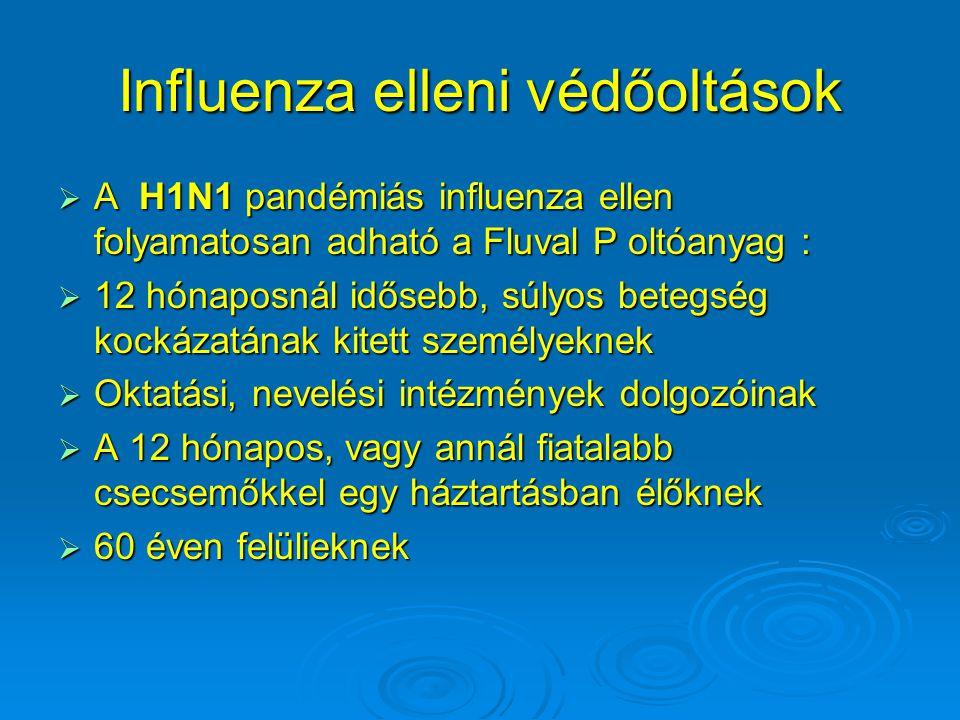 Influenza elleni védőoltások  A H1N1 pandémiás influenza ellen folyamatosan adható a Fluval P oltóanyag :  12 hónaposnál idősebb, súlyos betegség kockázatának kitett személyeknek  Oktatási, nevelési intézmények dolgozóinak  A 12 hónapos, vagy annál fiatalabb csecsemőkkel egy háztartásban élőknek  60 éven felülieknek