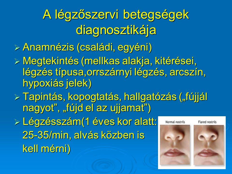 """A légzőszervi betegségek diagnosztikája  Anamnézis (családi, egyéni)  Megtekintés (mellkas alakja, kitérései, légzés típusa,orrszárnyi légzés, arcszín, hypoxiás jelek)  Tapintás, kopogtatás, hallgatózás (""""fújjál nagyot , """"fújd el az ujjamat )  Légzésszám(1 éves kor alatt: 25-35/min, alvás közben is 25-35/min, alvás közben is kell mérni) kell mérni)"""