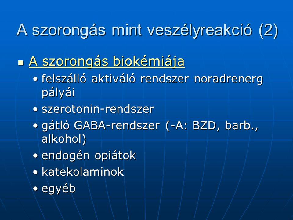 A szorongás mint veszélyreakció (2) A szorongás biokémiája A szorongás biokémiája felszálló aktiváló rendszer noradrenerg pályáifelszálló aktiváló rendszer noradrenerg pályái szerotonin-rendszerszerotonin-rendszer gátló GABA-rendszer (-A: BZD, barb., alkohol)gátló GABA-rendszer (-A: BZD, barb., alkohol) endogén opiátokendogén opiátok katekolaminokkatekolaminok egyébegyéb