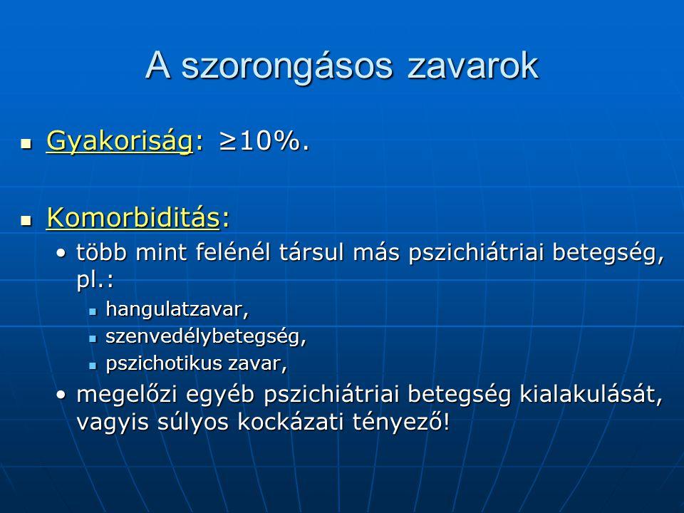 A szorongásos zavarok Gyakoriság: ≥10%. Gyakoriság: ≥10%. Komorbiditás: Komorbiditás: több mint felénél társul más pszichiátriai betegség, pl.:több mi