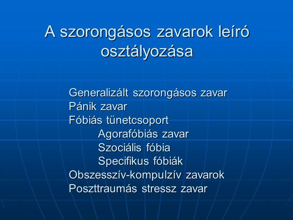 A szorongásos zavarok leíró osztályozása Generalizált szorongásos zavar Pánik zavar Fóbiás tünetcsoport Agorafóbiás zavar Szociális fóbia Specifikus f