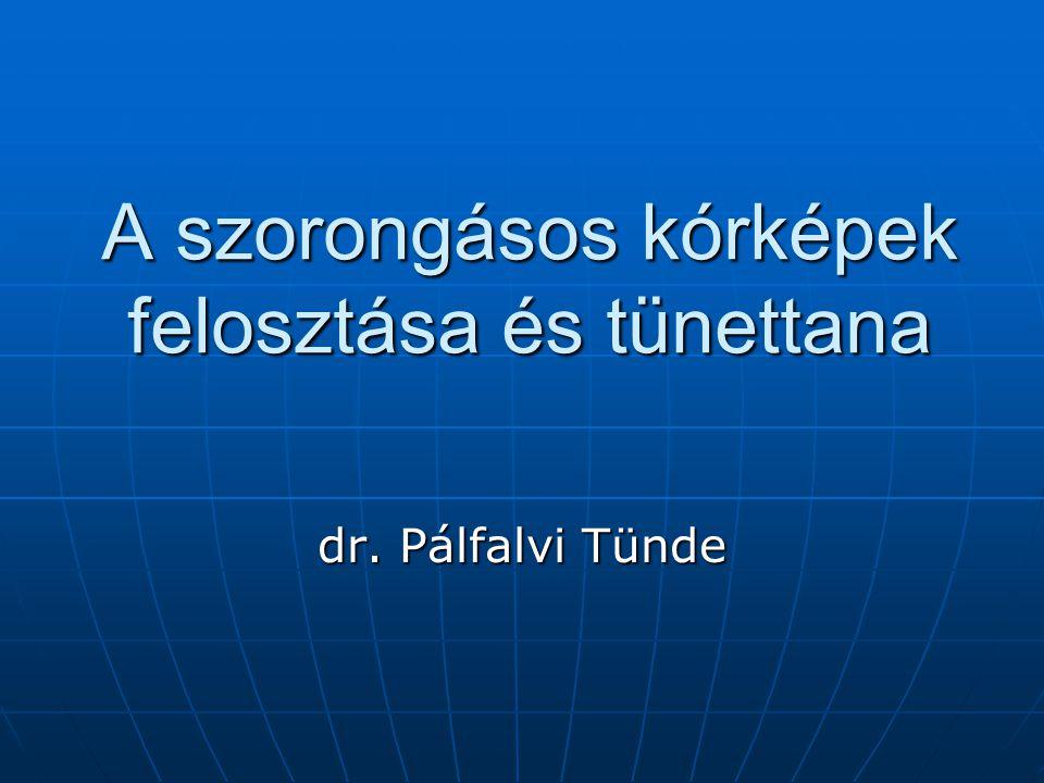 A szorongásos kórképek felosztása és tünettana dr. Pálfalvi Tünde
