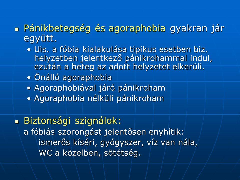 Pánikbetegség és agoraphobia gyakran jár együtt. Pánikbetegség és agoraphobia gyakran jár együtt. Uis. a fóbia kialakulása tipikus esetben biz. helyze