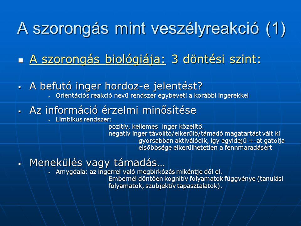 A szorongás mint veszélyreakció (1) A szorongás biológiája: 3 döntési szint: A szorongás biológiája: 3 döntési szint:  A befutó inger hordoz-e jelent