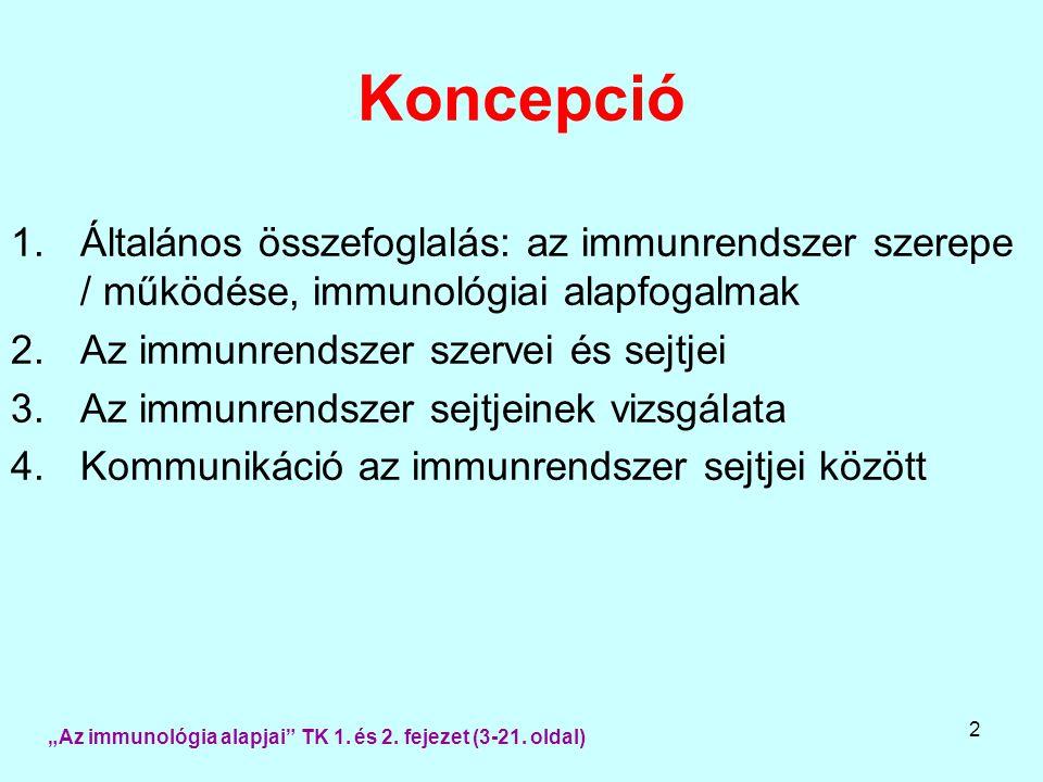 2 Koncepció 1.Általános összefoglalás: az immunrendszer szerepe / működése, immunológiai alapfogalmak 2.Az immunrendszer szervei és sejtjei 3.Az immun