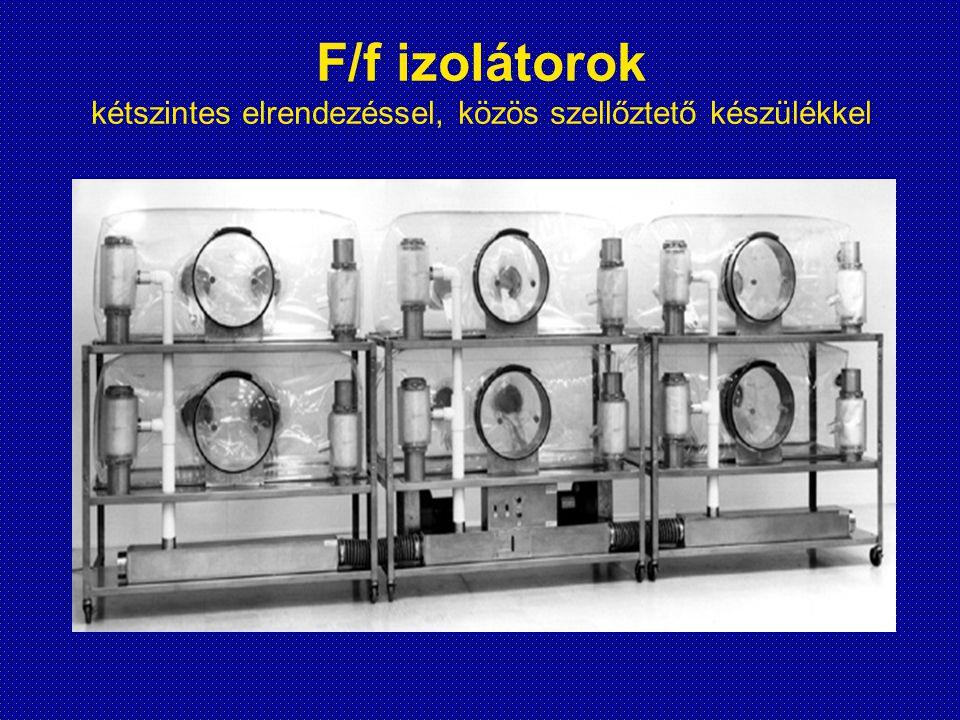 F/f izolátorok kétszintes elrendezéssel, közös szellőztető készülékkel