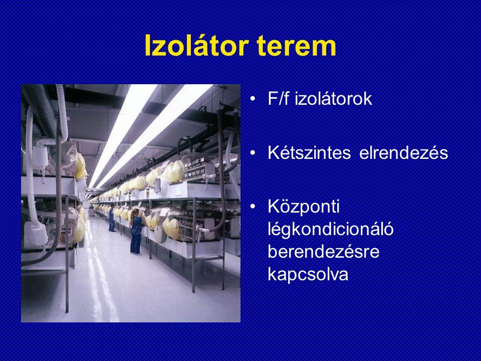 Izolátor terem F/f izolátorok Kétszintes elrendezés Központi légkondicionáló berendezésre kapcsolva