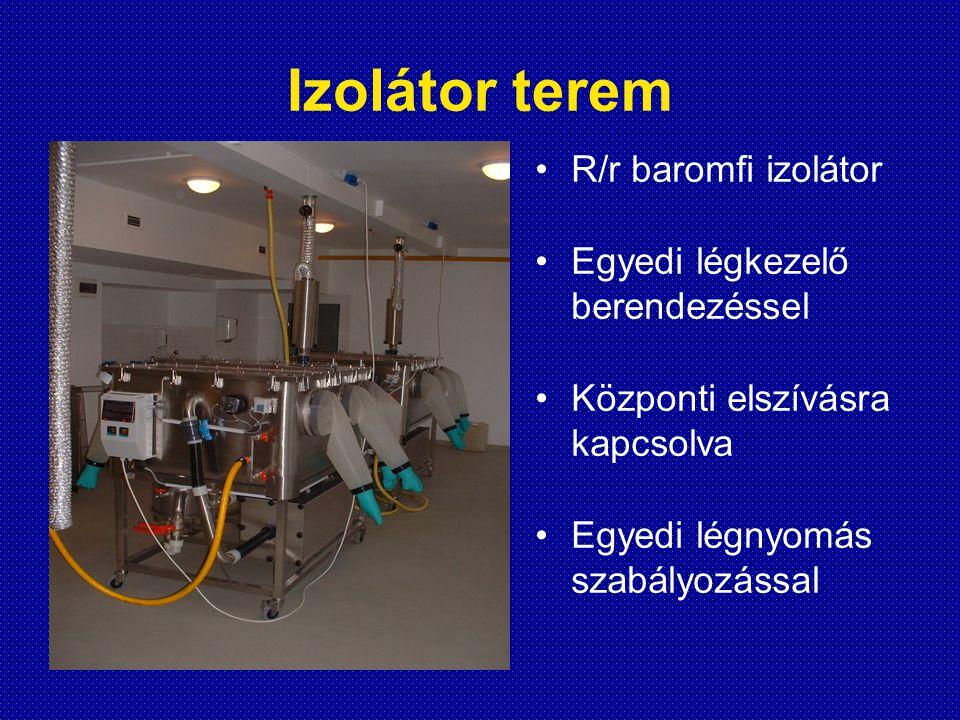 Izolátor terem R/r baromfi izolátor Egyedi légkezelő berendezéssel Központi elszívásra kapcsolva Egyedi légnyomás szabályozással
