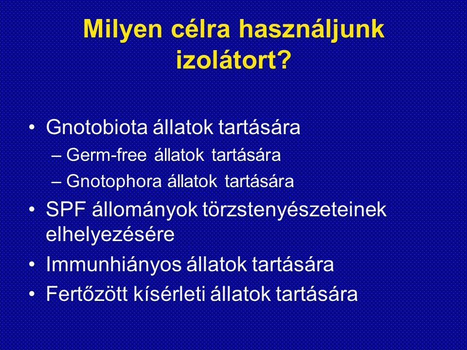 Milyen célra használjunk izolátort? Gnotobiota állatok tartására –Germ-free állatok tartására –Gnotophora állatok tartására SPF állományok törzstenyés