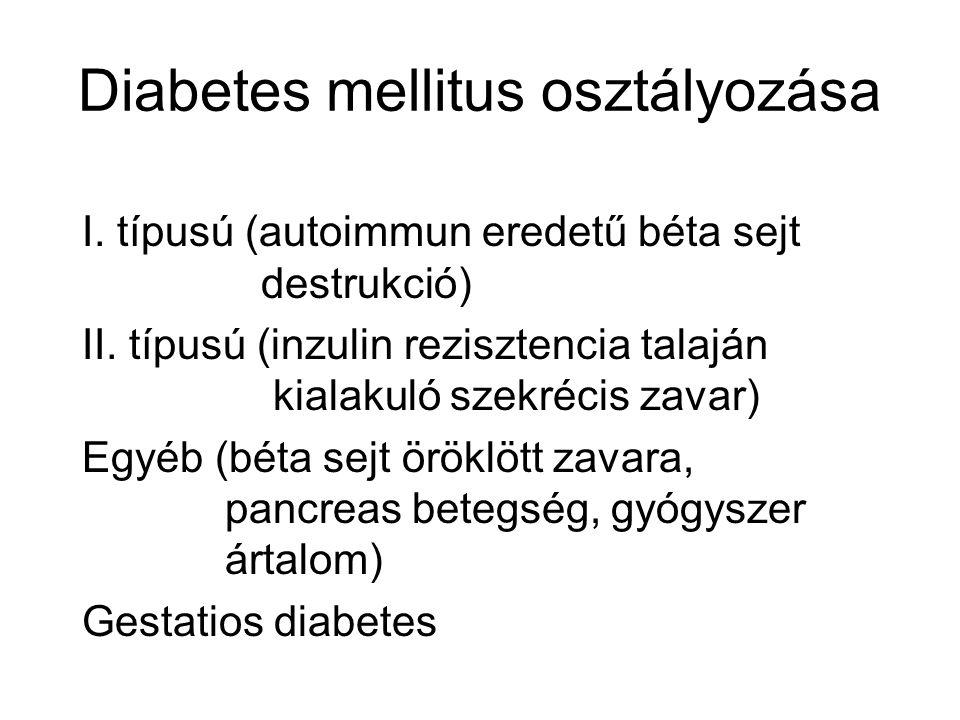 Diabetes mellitus osztályozása I. típusú (autoimmun eredetű béta sejt destrukció) II. típusú (inzulin rezisztencia talaján kialakuló szekrécis zavar)
