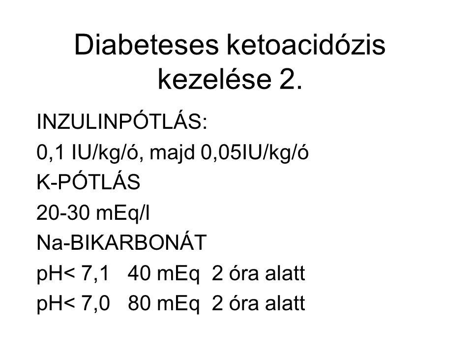 Diabeteses ketoacidózis kezelése 2. INZULINPÓTLÁS: 0,1 IU/kg/ó, majd 0,05IU/kg/ó K-PÓTLÁS 20-30 mEq/l Na-BIKARBONÁT pH< 7,1 40 mEq 2 óra alatt pH< 7,0