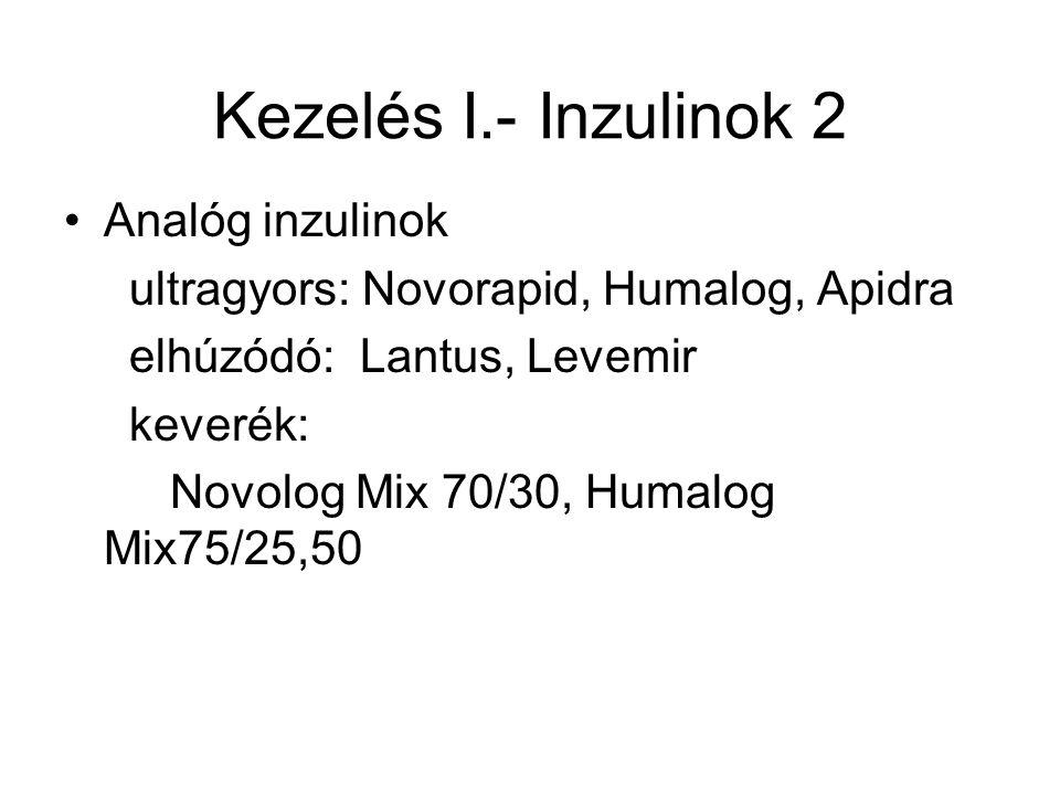 Kezelés I.- Inzulinok 2 Analóg inzulinok ultragyors: Novorapid, Humalog, Apidra elhúzódó: Lantus, Levemir keverék: Novolog Mix 70/30, Humalog Mix75/25